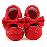 Delebao Infant Toddler Baby Soft Sole Tassel Bowknot Moccasinss Crib Shoes (0-6 Months, Red)