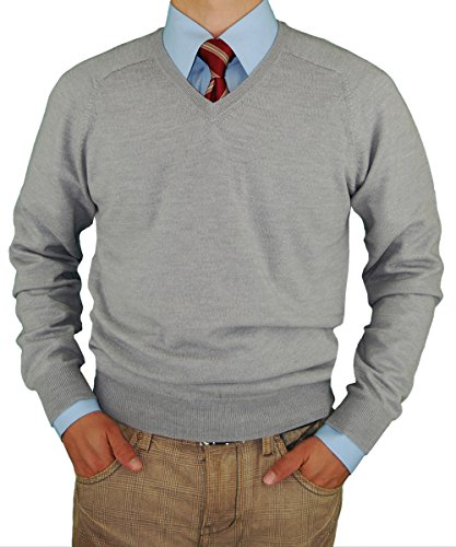 LN LUCIANO NATAZZI V-Neck Merino Wool Sweater Soft Like Cashmere Trim Fit (3X-Large, Light Gray) by LN LUCIANO NATAZZI