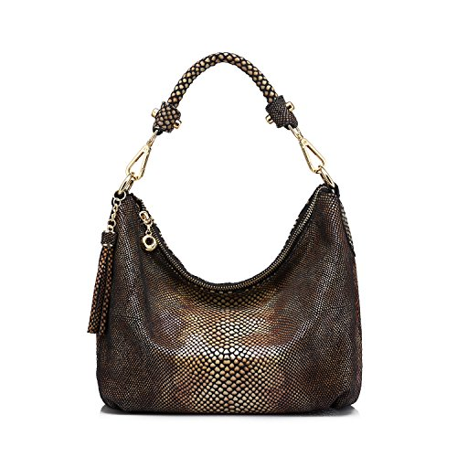 Realer New Brand Women Handbag Hobos Purse Snakeskin Small Crossbody - Hobo Animal Print