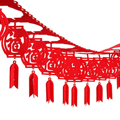 Leinuosen 39 inch Chinese New Year Decorations Fu Spring Festival Banner Red Hanging Lantern Festival Decoration, 39.3 feet Totally -