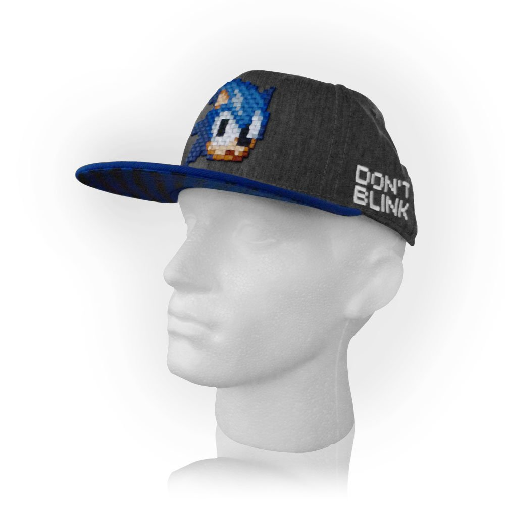 sports shoes abb6c 0eef8 Sonic The Hedgehog Sonic Pixelated Don t Blink Snapback Cap  Amazon.co.uk   Toys   Games
