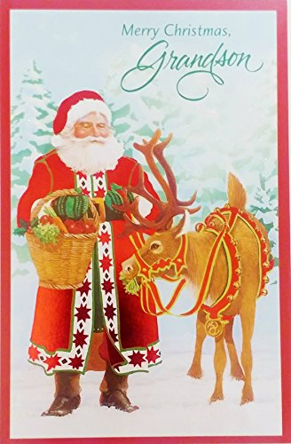 Merry Christmas Grandson - Classic Santa Holiday Greeting Card -