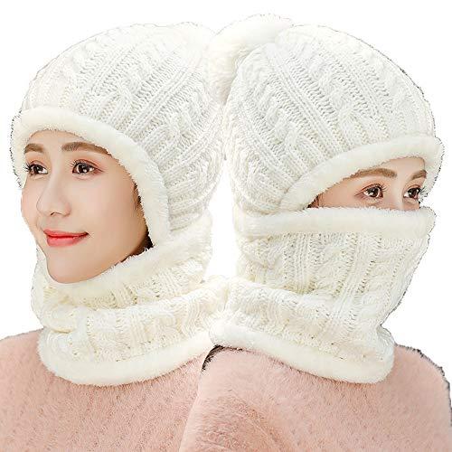 De Y Hats Viento Lana Blanco Cuello Blanco Terciopelo Prueba Engrosamiento A Sombrero Invierno Calido Knitted Protectores Mujer Cuerpo La Ciclismo Auditivos n5cxaUPXH