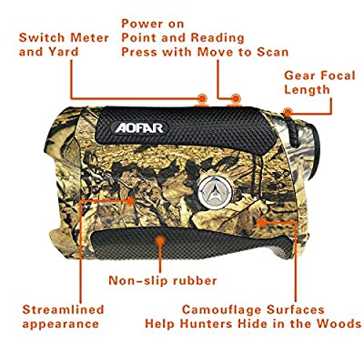 AOFAR Range Finder Hunting Archery H2 1000 Yards Shooting Wild Waterproof Coma Rangefinder, 6X 25mm, Range Bow Mode, Free Battery Gift Package from range finder
