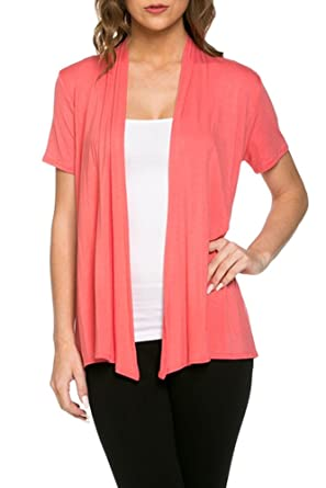 12 Ami Basic Solid Short Sleeve Open Front Cardigan (S-3X) - Made ...