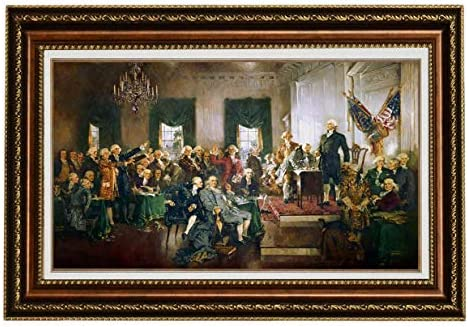Eliteart-Scene at The Signing of The Constitution of The United States Painting Reproduction Giclee Wall Art Canvas Prints-Framed Size:41 1/2″x 29″