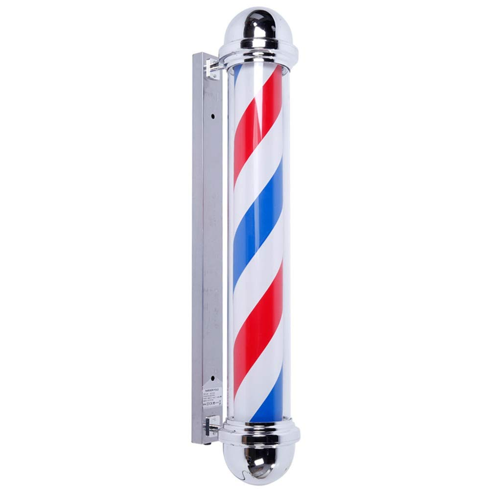 "AIPOLE 39"" Round Top LED Barber Pole Lamp Rotating & Illuminated Red Blue White Stripes Light Attractive Salon Hair Barber Shop Sign"
