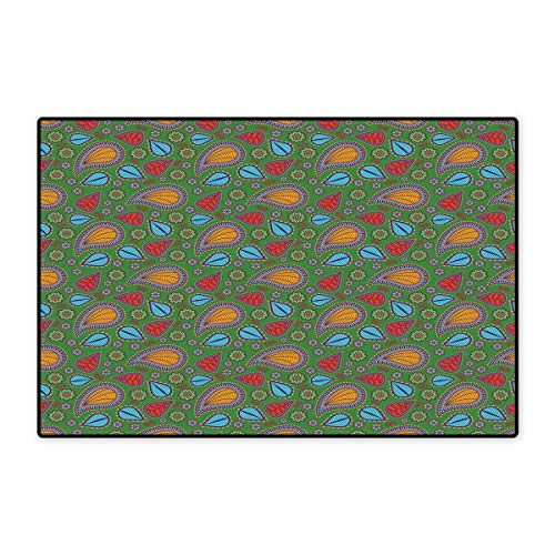 (Ethnic Door Mats for Home Ethnic Image with Swirls Floral Details Paisley Design Fern Green Backdrop Bath Mat for Bathroom Mat 16