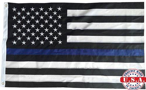 シンブルーラインフラグ2 x 3足刺繍縫製Top品質USA警察Memorialナイロンフラグ2 ' x3 ' ( Made in USA ) Military Gradeグロメット/フェード耐性pretreated W / Stain Protector (インドア/アウトドア) B01MR8TF3H