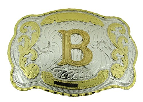 Initial Letters Western Style Cowboy Rodeo Gold Large Belt Buckles (Large Square, B LETTER) ()