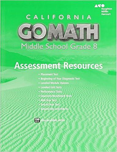 Holt mcdougal go math california assessment resource with answers holt mcdougal go math california assessment resource with answers grade 8 1st edition fandeluxe Gallery