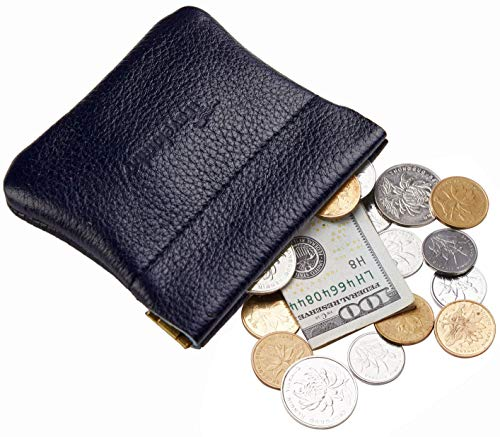 Travelambo Leather Squeeze Coin Purse Pouch Change Holder For Men & Women (Pebble Blue Deep)