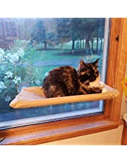 Cat Hammock Window Bed Perch Seat Sunny for Lager Cats Perches Furniture Kitty Window Sill Seat Window Mounted Animal Pet Kitten Cot Beds Upgraded Version 4 Big Suction Cups Holds Up 30lb
