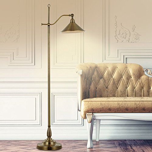 Eye protection floor lamp Creative fashion copper bedroom iron pot cover bedside floor lamp Umbrella lightA+