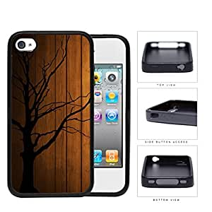 Dead Tree Silhouete With Brown Wood Background Rubber Silicone TPU Cell Phone Case Apple iPhone 4 4s by lolosakes