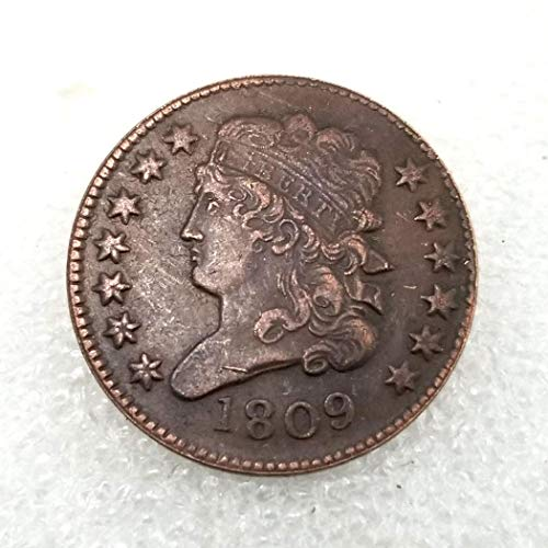 MarshLing 1809 Antique US Liberty Old Half-Cent Coin - Great American Commemorative Coins - USA Uncirculated Morgan Dollars-Discover History of Coins Perfect Quality ()