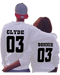 Minetom Loisirs Femme Homme Sweatshirt Sweat à Capuche Couple CLYDE    BONNIE 03 Impression QUEEN   9257c9a5be1e