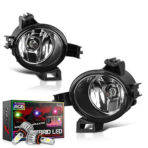 Price comparison product image [Built-In Rainbow RGB LED Bulbs] VIPMOTOZ For 2005-2006 Nissan Altima Quest Fog Lights - [Factory Style] - Metallic Chrome Housing, Driver and Passenger Side
