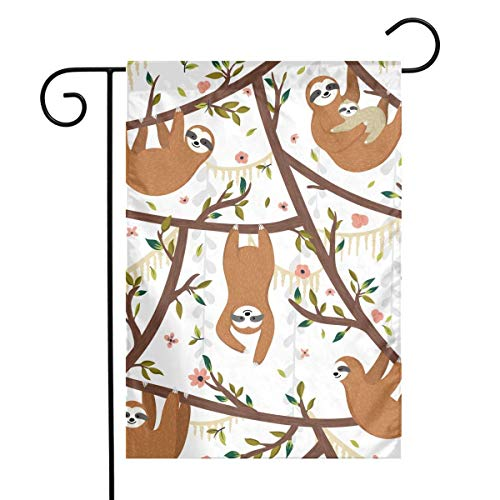 LMHB Sloth Hang Trees Garden Flag Decorative Sweet Home Yard Banner 12X18inch ()