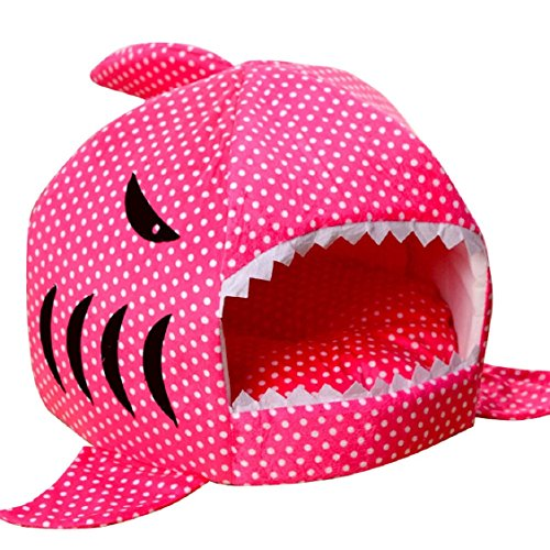 Egmy Fashion Pet Products Shark Warm Washable Cushion Mat Dog Cat House Bed Pet Basket House Pad Tent Bed (L, Hot Pink)