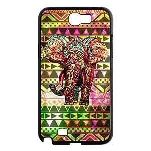 JFLIFE Aztec Tribal Elephant Phone Case for samsung galaxy note2 Black Shell Phone [Pattern-1] WANGJING JINDA