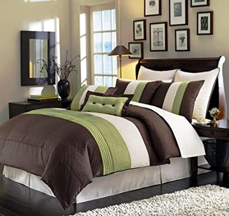 8 Pieces Sage Green Beige Brown Luxury Stripe Comforter (88x86) Bed-in-a-Bag Set Full Size Bedding