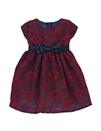 Sweet Kids Baby Girls Burgundy Navy Floral Lace Bow Christmas Dress 6-24M