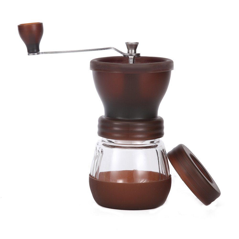 shan gui Manual Coffee Grinder with Conical Ceramic Burr - Because Hand Ground Coffee Beans Taste Best, Infinitely Adjustable Grind Glass Jar Stainless Steel Built To Last, Quiet and Portable coffee