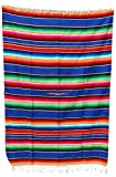 Mexican Sarape Bright Colors Bedspread (90'' L X 60'' W Twin, Blue)