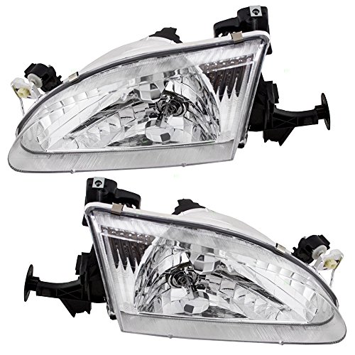 Headlights Headlamps Driver and Passenger Replacements for 98-00 Toyota Corolla 81150-02050 ()