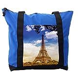 Lunarable Eiffel Tower Shoulder Bag, Sunny Afternoon Paris, Durable with Zipper