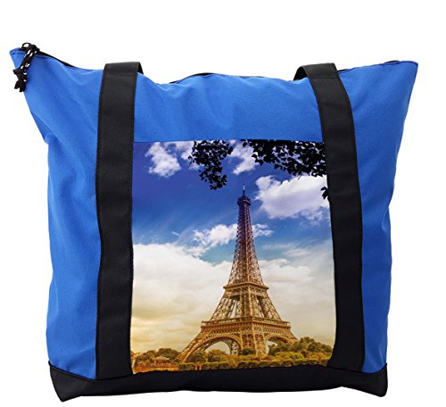 Lunarable Eiffel Tower Shoulder Bag, Sunny Afternoon Paris, Durable with Zipper by Lunarable