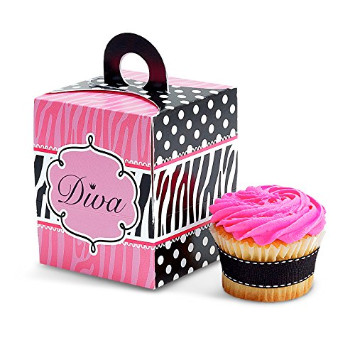 BirthdayExpress Diva Zebra Print Cupcake Boxes (4) ()