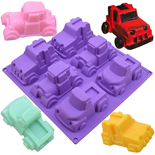 Efivs Arts 6 Truck Jeep Car Shape Silicone Cake Baking Mold Cake Pan Muffin Cups Handmade Soap Molds Biscuit Chocolate Ice Cube Tray DIY Mold -