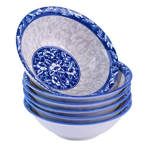 - CUTISET 6 Inch Porcelain Salad/Pasta/Soup Bowls, Set of 6, Assorted Blue and White Patterns, Chinese Style, Deep & Wide, (6-inch, Round)