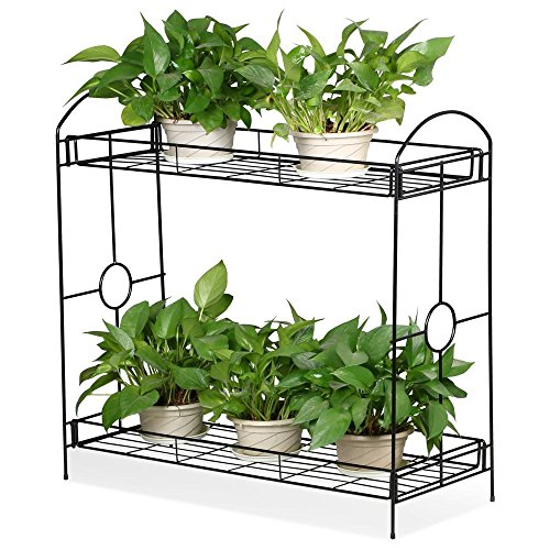 Topeakmart 2 tier metal flower plant stand w tray design for Plant shelf plans