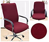 Beyonder Modern Simplism Style Office Computer Chair Covers,Universal Stretch Spandex Removable Desk Chair / Rotating Chair Cover Protector Seat(S, Wine red)