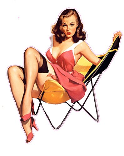 Nostalgia Decals Red Dress Lawn Chair Pin Up Girl Decal is 6
