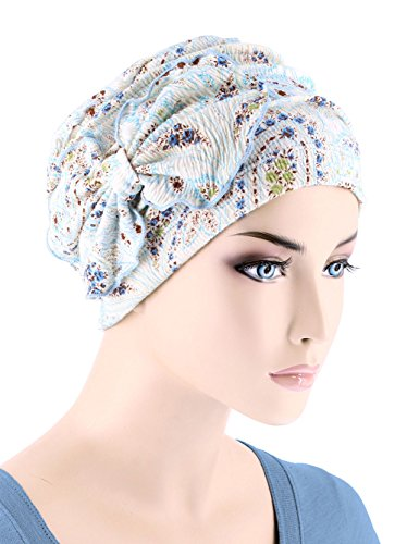 Womens Soft Cotton Chemo Hat Flower Bow Pleated Cloche Beanie Cancer Turban Cap Blue Paisley