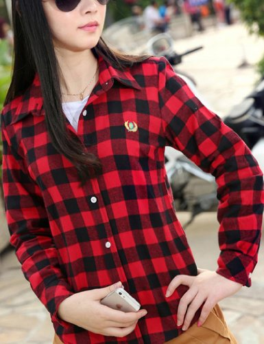 Juanshi Women 39 S Check Flannel Shirt Color Red Black