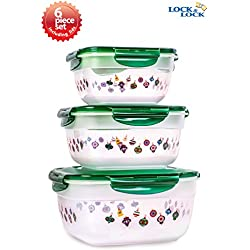 Lock & Lock 6pcs Set Square Plastic Food Storage Container Emerald Ornament Pattern with Nesting Design and Airtight Anti-Spill Proof Technology