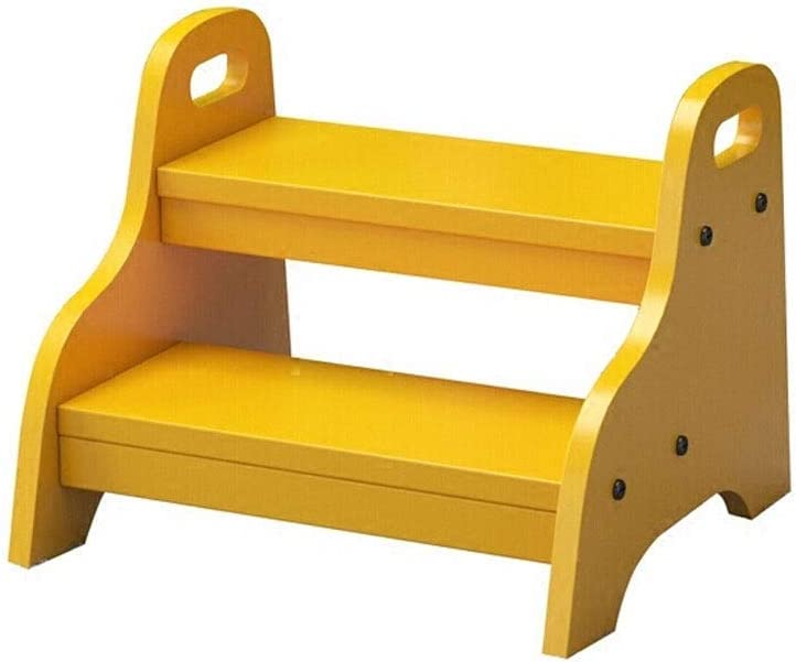 BBG Taburete, Escalera de Taburete de Madera de 2 Escalones Adecuado para el Baño de Los Niños Taburete Pequeño Práctico Capacitación para Ir Al Baño para Niños Soporte de Flores Portátil para