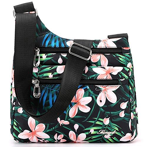 STUOYE Nylon Multi-Pocket Crossbody Purse Bags for Women Travel Shoulder Bag (Cherry Blossoms) ()