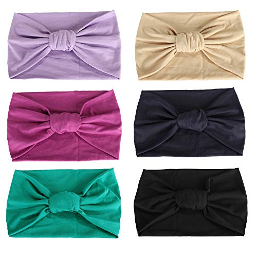 Adramata 6 Pcs Boho Headbands for Women Vintage Flower Printed Criss Cross Elastic Head Wrap Twisted Cute Hair -