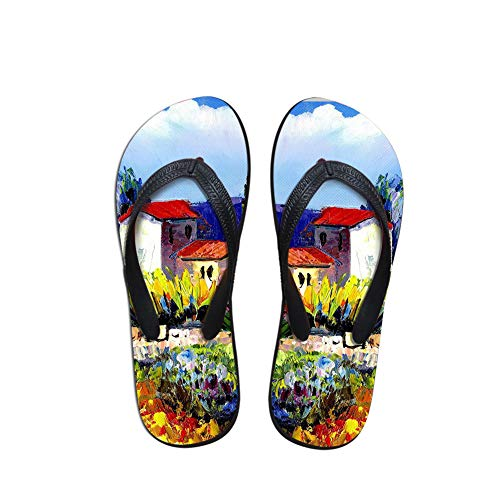 Linhuizhen Oil Painting Printing Women Men Summer Flip Flops Beach Sandals Personality Slippers ()