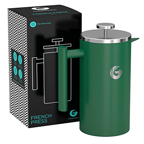 Large French Press Coffee Maker – Vacuum Insulated Stainless Steel - Green, 34 ounce