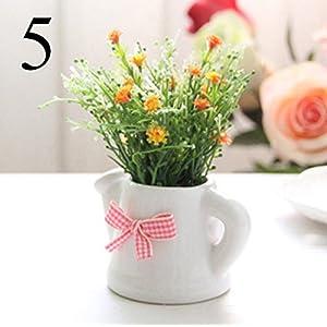 FYYDNZA Small Artificial Plants Decorative Gypsophila Flowers Mini Potted Kettle Bonsai 1 Set (Plants + Vase),5 111
