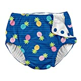 i play. Baby Girls Snap Reusable Absorbent Swimsuit Diaper, Blue Pineapple Stripe, 12 Months