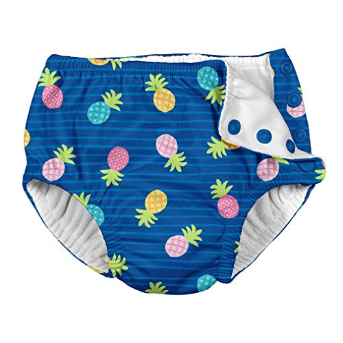 i play. Baby Girls Snap Reusable Absorbent Swimsuit Diaper, Blue Pineapple Stripe 12mo from i play.