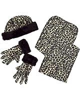 Leopard Polyester Fleece Winter Set